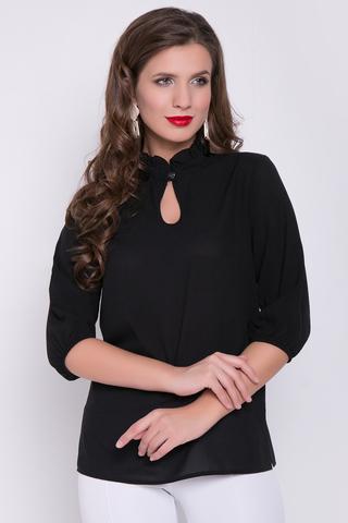 <p><span>Классическая романтическая блузка в позитивных расцветках. Ворот - стойка с рюшей, рукав 3/4 на резинке.&nbsp; (Длина: 46-52= 67 см)&nbsp;</span></p>