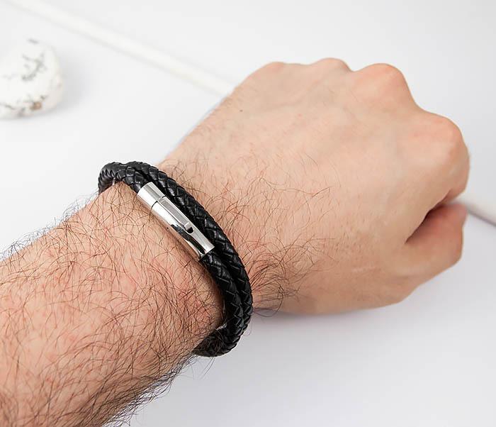 BM513-1 Мужской браслет двойной шнур черного цвета (21 см) фото 05