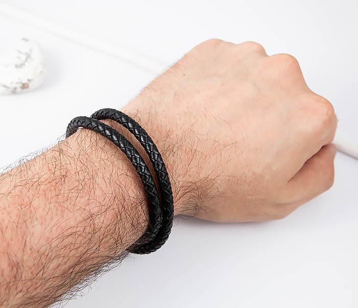 BM513-1 Мужской браслет двойной шнур черного цвета (21 см) фото 06