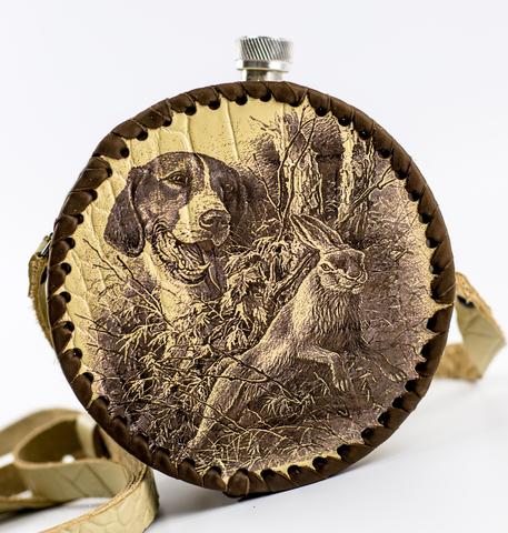 Фляга круглая в кожаном чехле Охота, 700 мл