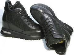 Сникерсы кроссовки на танкетке осень Evromoda 965 Black