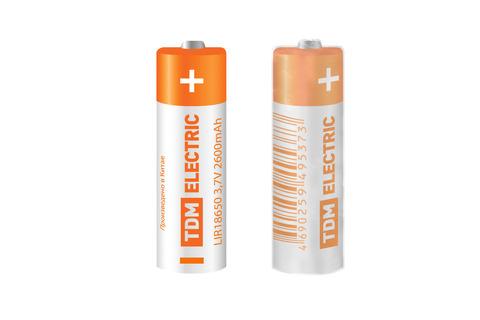 Аккумулятор LIR18650 3,7 В 2600 мА*ч  Li-Ion, термоусад., TDM
