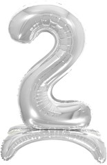 К Шар цифра (32''/81 см) , 2 на подставке, Серебро, 1 шт. в упак.