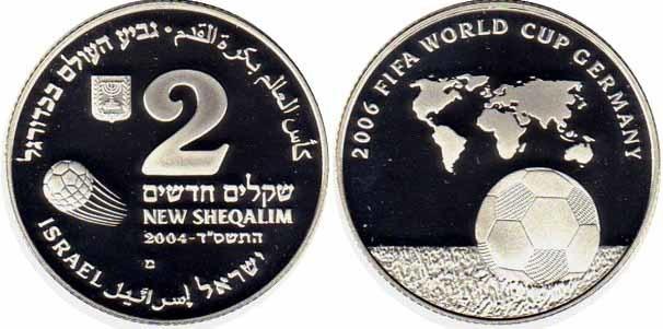 2 шекеля Чемпионат мира по футболу Германия 2006 г. Израиль 2004 г.