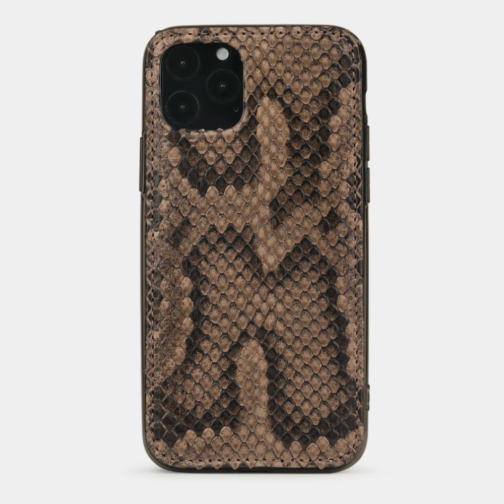 Чехол-накладка для iPhone 11 Pro из натуральной кожи питона, бежевого цвета