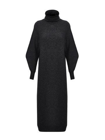 Женское платье черного цвета из шерсти и кашемира - фото 2