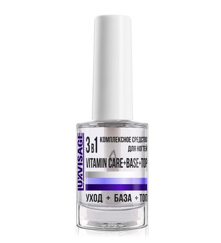 LuxVisage Средство по уходу за ногтями Комплексное средство 3 в 1 Vitamin Care + Base + Top 9г