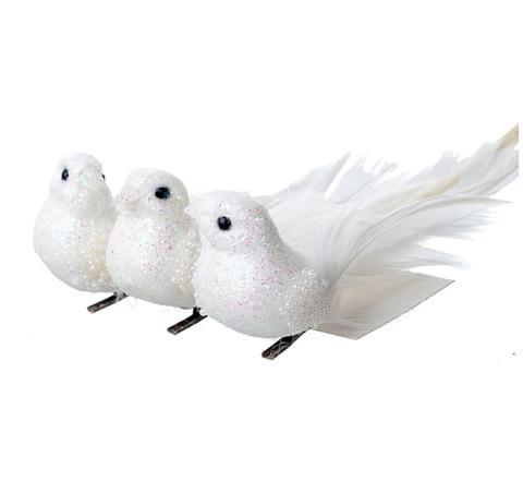 Набор птичек на прищепках 3 шт, 12см, цвет:белый