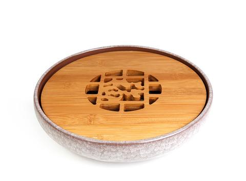 """Чайный поднос из исинской глины с обливной эмалью """"Колотый лед"""" 25 см (бежевый). Интернет магазин чая"""