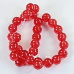 Бусина Жадеит (тониров), шарик, цвет - красный, 6 мм, нить