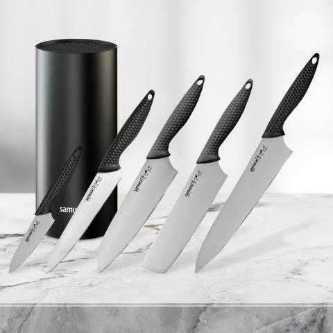 Набор из 5 ножей Samura Golf и подставки KBF-101