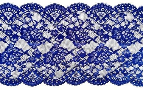Эластичное кружево, 22 см, синий (переливающийся) (Артикул: EK-1053), м