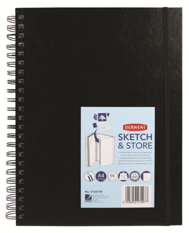 Скетчбук Sketch&Store 165г/кв.м А4 21*29.7см 56л портрет твердая обложка спираль черный