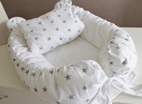 Babynest Комплект кокон + подушечка декоративная белый с серыми звездами