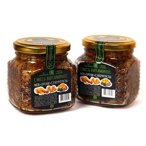 Смесь витаминная с орехами, мёдом и сухофруктами, Supernut, 300 г