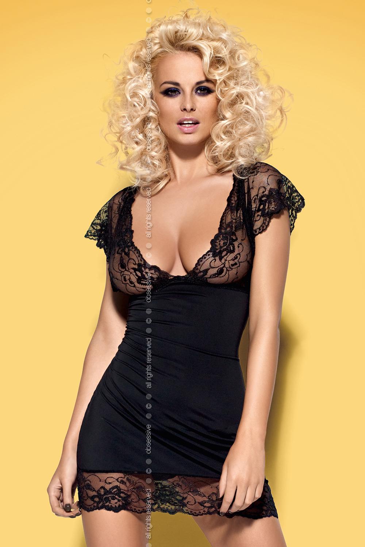 Черная сорочка Idillia с глубоким декольте