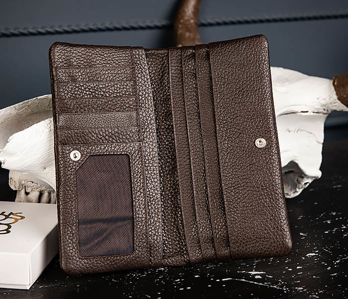 WL336-2 Портмоне клатч из натуральной коричневой кожи «Hanz» фото 05