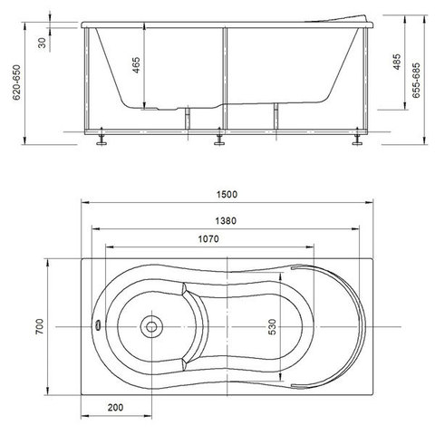 Ванна акриловая Aquatek Афродита 150х70см. на каркасе и сливом-переливом. схема