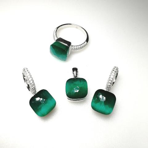 Комплект из серебра с зеленым кварцем в стиле Pomellato-3 изделия