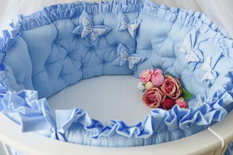 Комплект в круглую/овальную кроватки Butterfly голубой