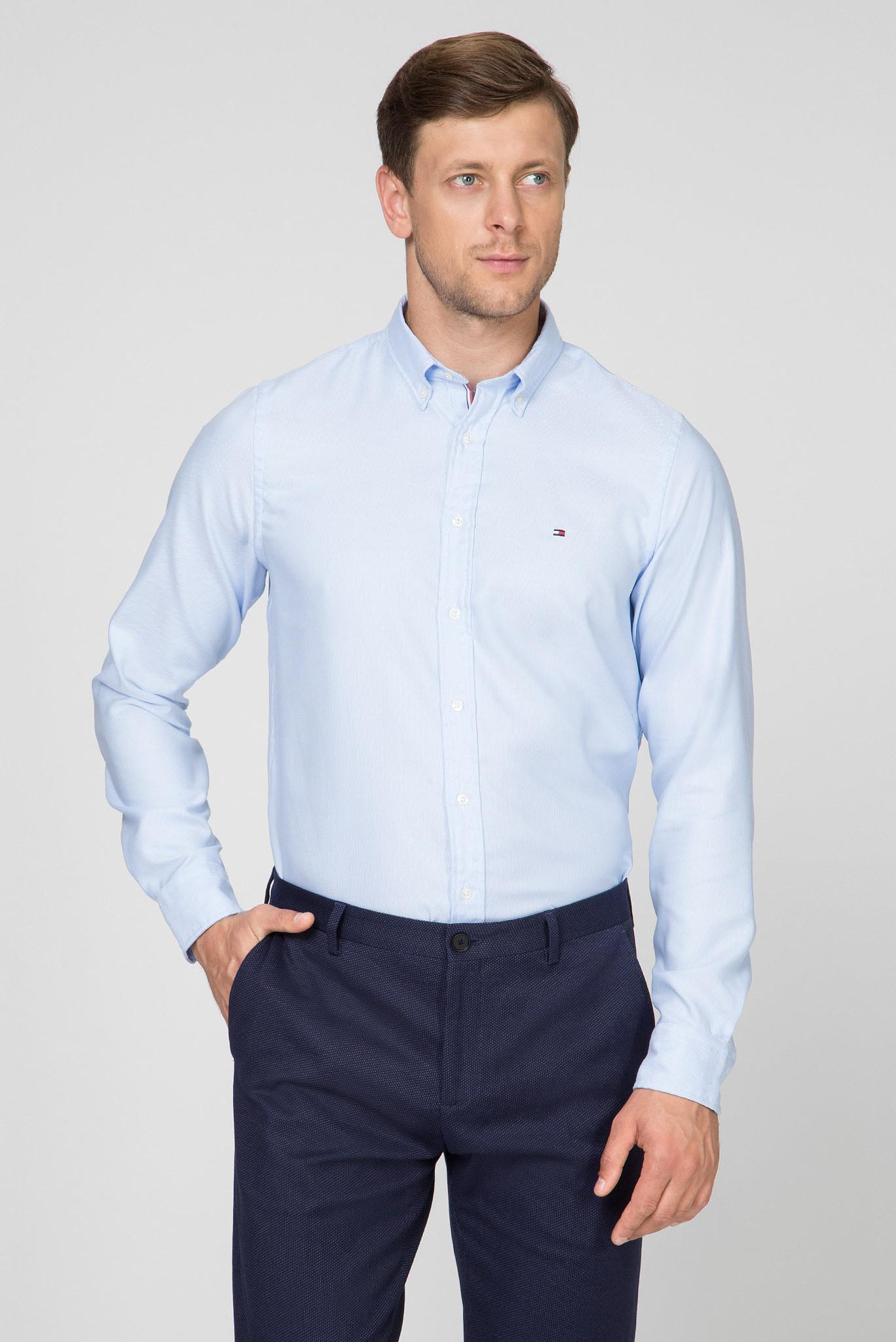 Мужская голубая рубашка SLIM ESSENTIAL DOBBY SHIRT Tommy Hilfiger