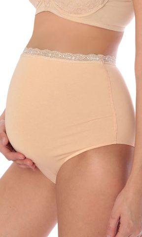 Euromama/Евромама. Трусы для беременных высокие с кружевом, бежевые