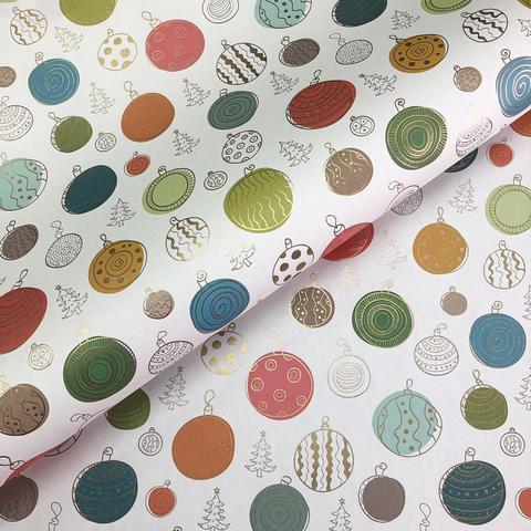 Бумага подарочная упаковочная Новогодние шары (Италия)