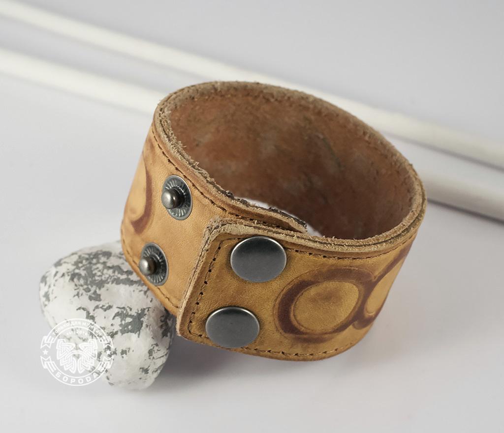 BL392-3 Кожаный браслет песочного цвета «Властелин Колец» на кнопках (17,5 -20 см) фото 05