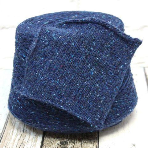 Твид c ангорой и шелком NATURAL FANTASY CONDOR 450 темно-синий