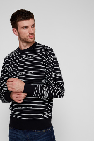 Мужской черный свитшот STRIPE Calvin Klein