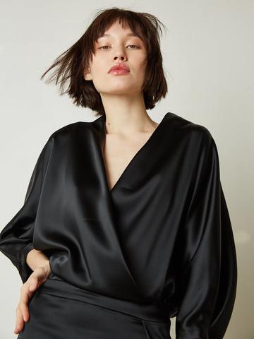 Платье вечернее из смесового шелка черный