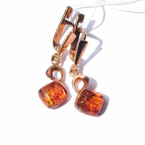 Серебряные серьги с позолотой с Янтарем