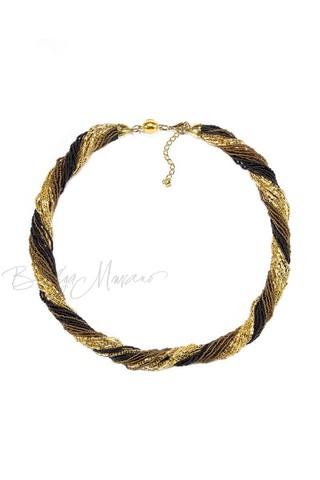 Бисерное ожерелье из 24 нитей золотисто-черное