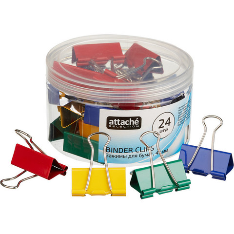 Зажим для бумаг Attache Selection, 41мм, 24 шт, цветные, пласт.уп