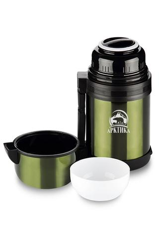 Термос универсальный (для еды и напитков) Арктика (1 литр) с широким горлом, болотный