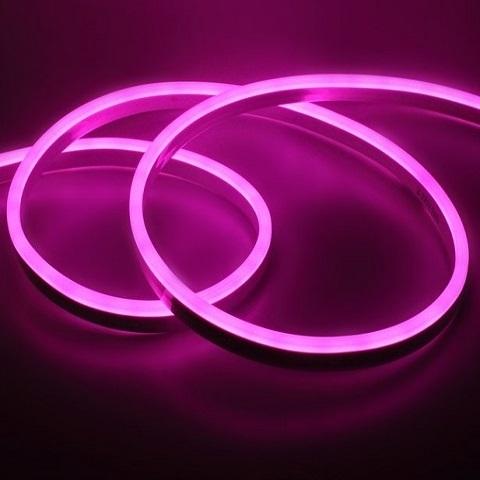 Гибкий неон Розовый, SMD2835, 8х16 мм, 12 Вольт, Силикон