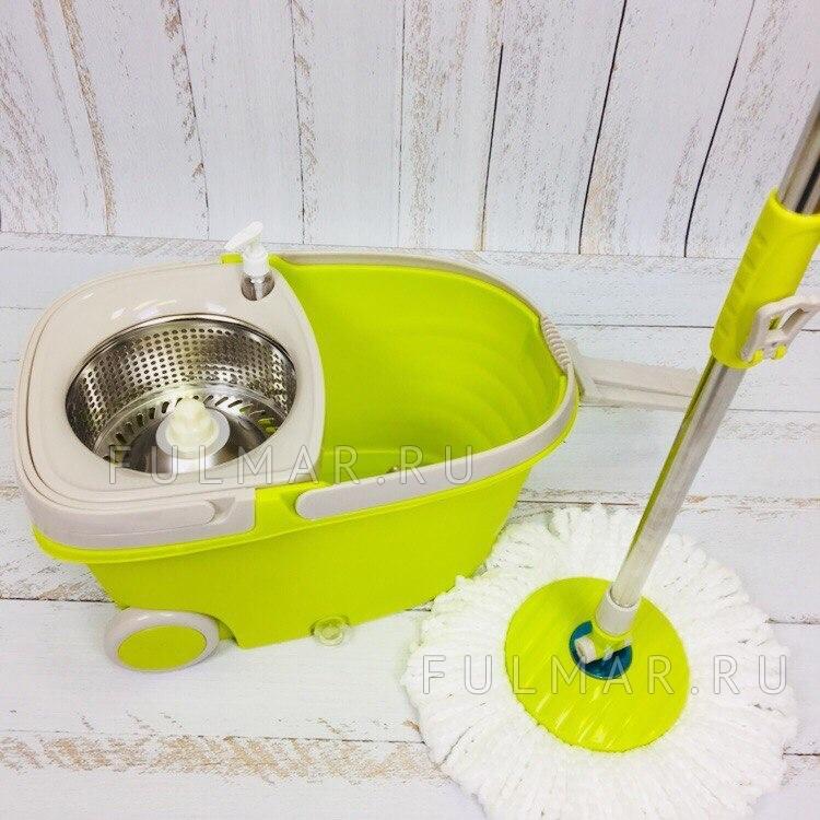 Швабра и ведро для отжима и полоскания на 2 колесиках с ручкой Spin Mop Wheels Салатовый фото