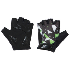 Велоперчатки JAFFSON SCG 46-0384 (чёрный/белый/зелёный)