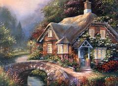 Картина раскраска по номерам 40x50 кирпичный домик