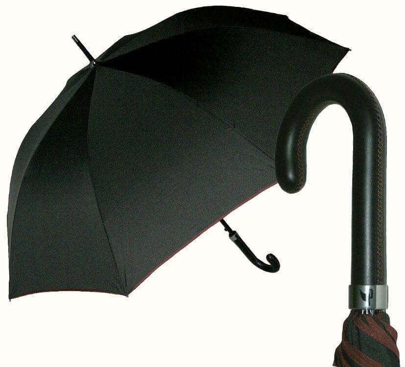 Элитный большой зонт-трость с кожаной ручкой, Италия
