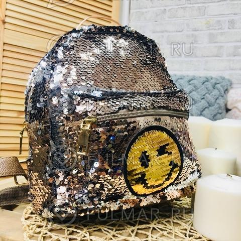 Рюкзак с двусторонними пайетками нашивкой Смайлик меняет цвет Кофейный-Серебристый
