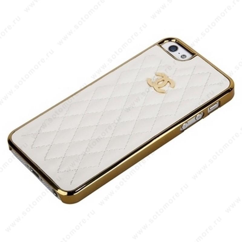 Накладка CHANEL для iPhone SE/ 5s/ 5C/ 5 золотая+белая кожа