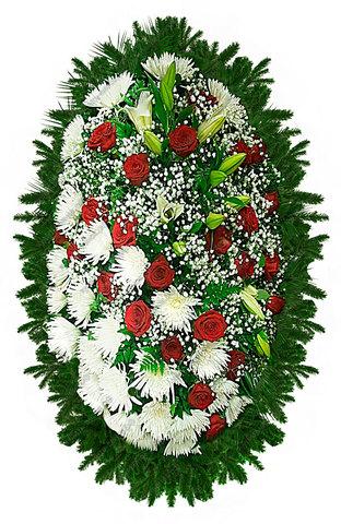 Траурный венок из живых цветов ВЖ 06
