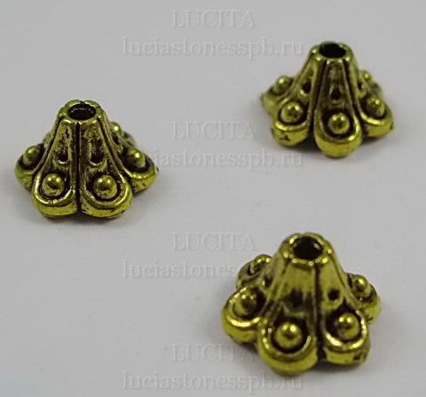 """Шапочка для бусины """"Колокольчик"""" 9х6 мм (цвет - античное золото), 10 штук ()"""