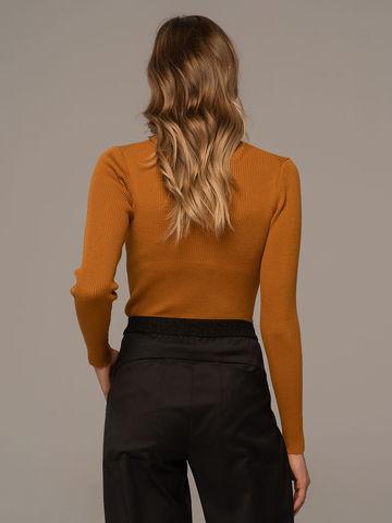 Женский свитер терракотового цвета из 100% шерсти - фото 4