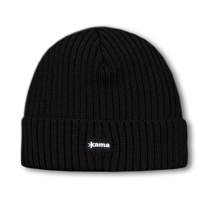Шерстяные шапки Шапка вязаная Kama A12 Black 7.jpg