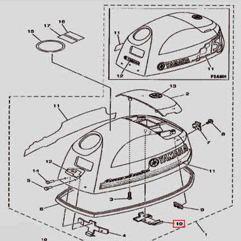 Защелка крышки капота для лодочного мотора F5 Sea-PRO(1-10)