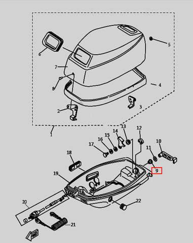 Втулка ручки защелки колпака для лодочного мотора T9.8 Sea-PRO (1-9)