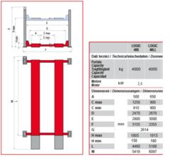 Схема. Подъёмник четырехстоечный электрогидравлический BUTLER Logic 40S/ Logic 40LL (Италия). Грузоподъёмность 4 т. Для легкового автосервиса.