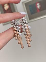 89154-Серьги длинные из двухцветного серебра